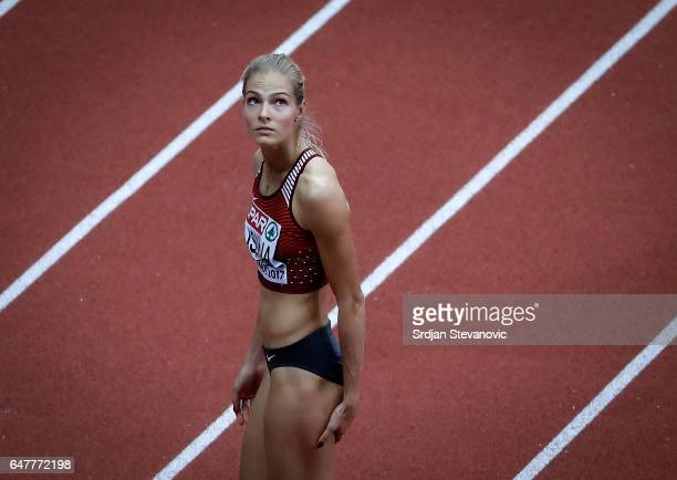 Darya Klishina of Russia competes in the Women's Long Jump qualification on day two of the 2017 European Athletics Indoor Championships at the...