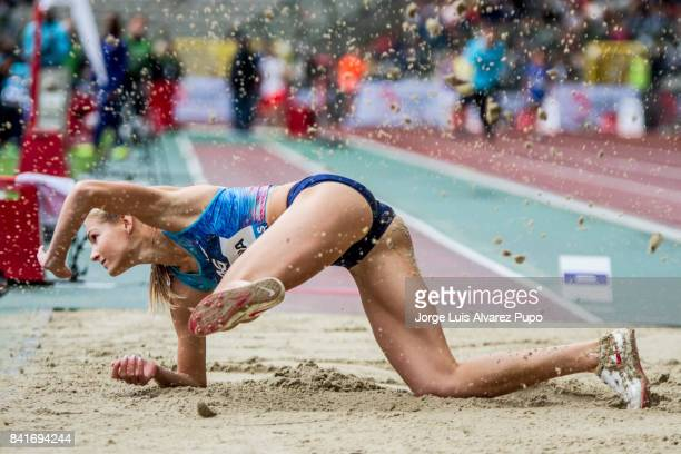Darya Klishina of Russia competes in women's Long jump during the AG Insurance Memorial Van Damme as part of the IAAF Diamond League 2017 at King...