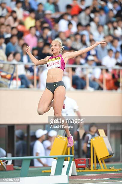 Darya Klishina of Russia competes in Women's Long Jump Final during the Seiko Golden Grand Prix Tokyo 2014 at National Stadium on May 11 2014 in...