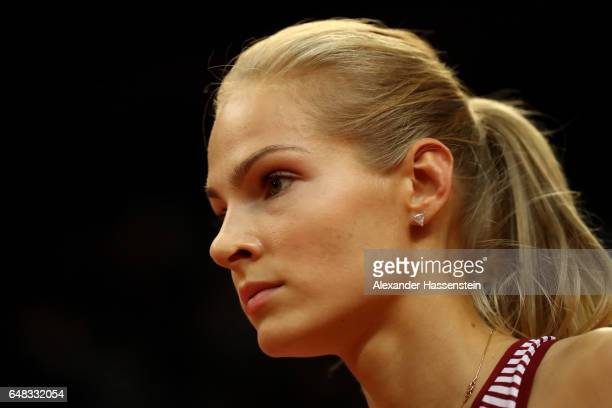 Darya Klishina of Russia looks on during the Women's Triple Jump final on day three of the 2017 European Athletics Indoor Championships at the...