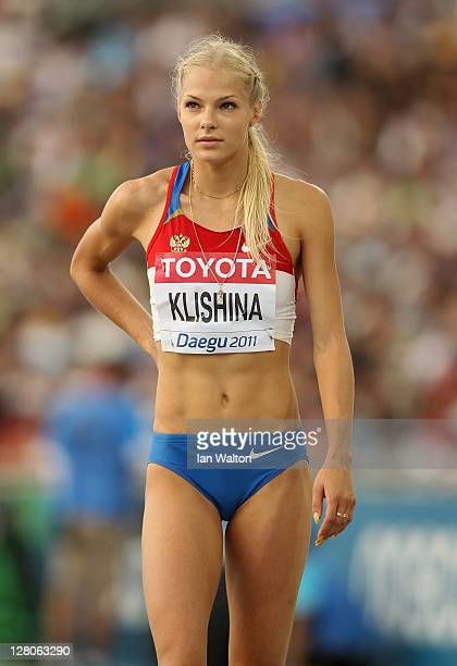 Darya Klishina of Russia looks up at the giant screen in the stadium in the women's Long Jump final during day two of 13th IAAF World Athletics...