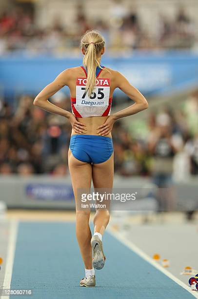 Darya Klishina of Russia pauses at the end of the runway before taking a jump in the women's Long Jump final during day two of 13th IAAF World...