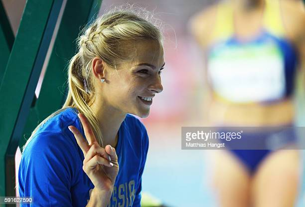 Darya Klishina of Russia poses after competing in the Women's Long Jump Final on Day 12 of the Rio 2016 Olympic Games at the Olympic Stadium on...
