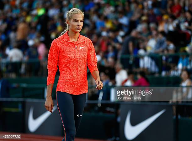 Darya Klishina of Russia warms up before the long jump during Day 1 of the IAAF Diamond League Prefontaine Classic at Hayward Field on May 29, 2015...