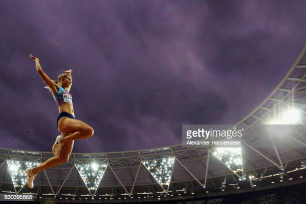 Darya Klishina of the Authorised Neutral Athletes competes during the Women's Long Jump final during day eight of the 16th IAAF World Athletics...