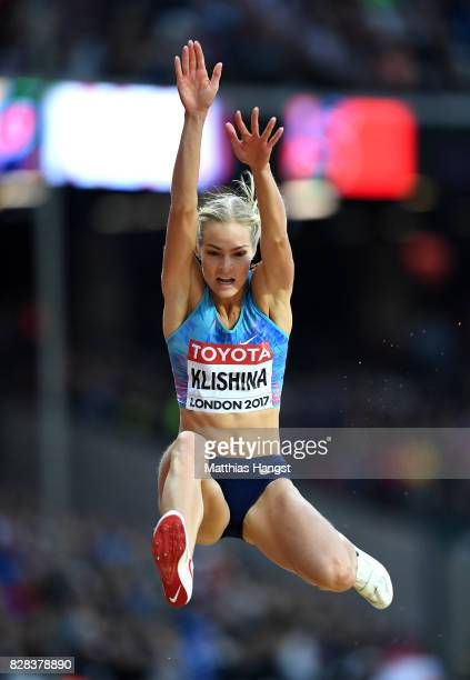Darya Klishina of the Authorised Neutral Athletes competes in the Women's Long Jump qualification during day six of the 16th IAAF World Athletics...