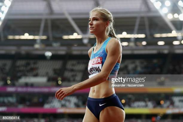 Darya Klishina of the Authorised Neutral Athletes looks on during the Women's Long Jump final during day eight of the 16th IAAF World Athletics...