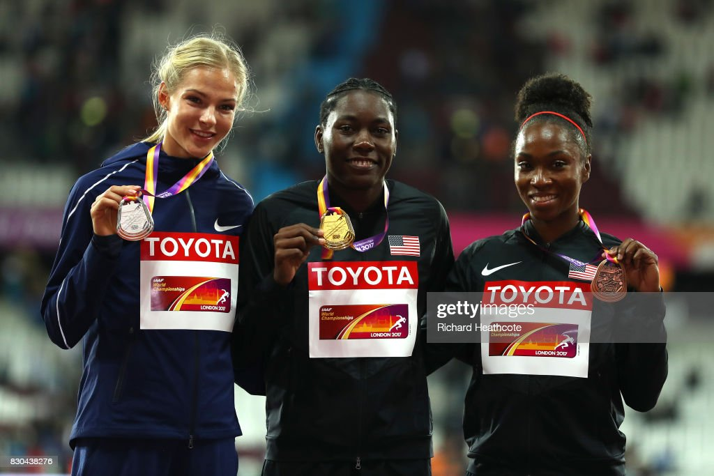 Darya Klishina of the Authorised Neutral Athletes, silver, Brittney Reese of the United States, gold, and Tianna Bartoletta of the United States, bronze, pose with their medals for women's long jump during day eight of the 16th IAAF World Athletics Championships London 2017 at The London Stadium on August 11, 2017 in London, United Kingdom.