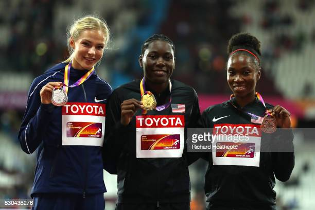 Darya Klishina of the Authorised Neutral Athletes, silver, Brittney Reese of the United States, gold, and Tianna Bartoletta of the United States,...