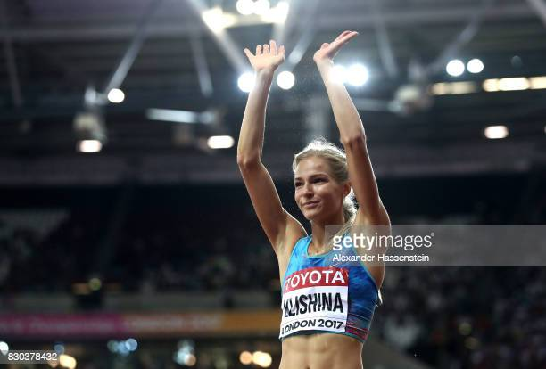Darya Klishina of the Authorised Neutral Athletes, silver, celebrates after women's long jump during day eight of the 16th IAAF World Athletics...