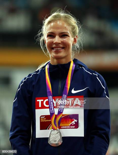 Darya Klishina of the Authorised Neutral Athletes, silver, poses with her medal for women's long jump during day eight of the 16th IAAF World...