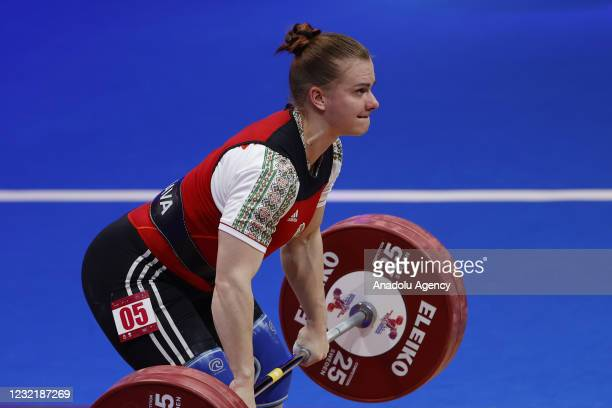 Darya Naumava of Belarus competes in the Women's 76 kg final within the Weightlifting European Championships 2021 in Moscow, Russia on April 08, 2021.