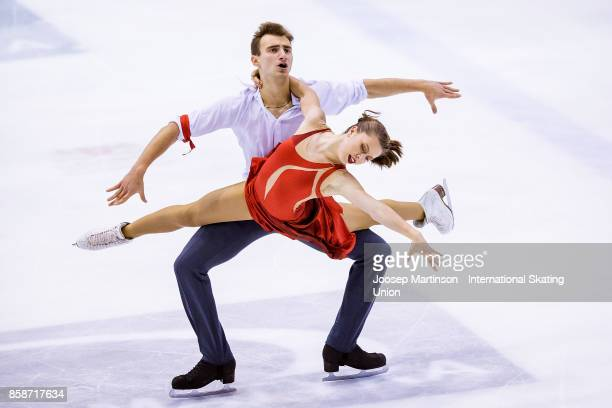 Darya Popova and Volodymyr Byelikov of Ukraine compete in the Ice Dance Free Dance during day three of the ISU Junior Grand Prix of Figure Skating at...