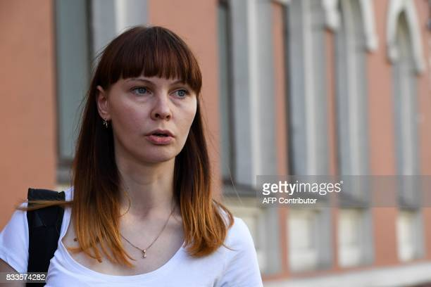 Darya Sukhikh, a lawyer for Raoul Wallenberg's relatives, speaks with journalists outside Moscow's Meshchansky district court on August 17, 2017....