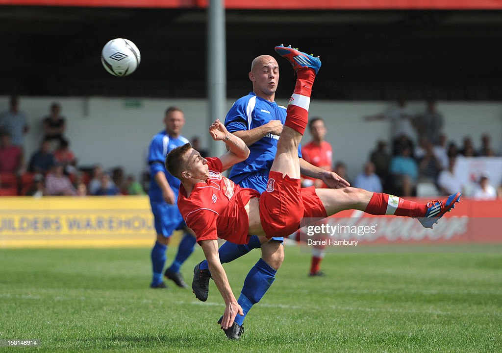 Daryl Atkins of Wembley FC attempts an overhead kick during a Budweiser FA Cup Extra Preliminary Round at Vale Farm Stadium, on August 11, 2012 in Wembley, London, England.