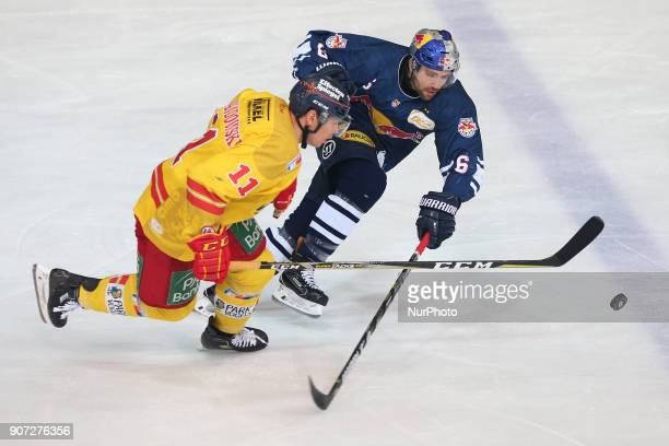Daryl Boyle of Red Bull Munich vies Eduard Lewandowski of Duesseldorfer EG during the 43th game day of the German Ice Hockey League between Red Bull...