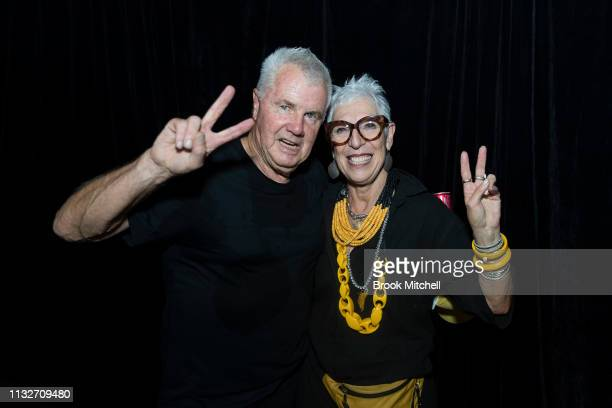 Daryl Braithwaite poses with OzHarvest CEO Ronni Kahn during the OzHarvest CEO Cookoff on March 25 2019 in Sydney Australia