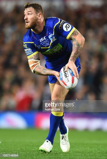 Daryl Clark of Warrington Wolves in action during the BetFred Super League Grand Final match between Warrington Wolves and Wigan Warriors at Old...