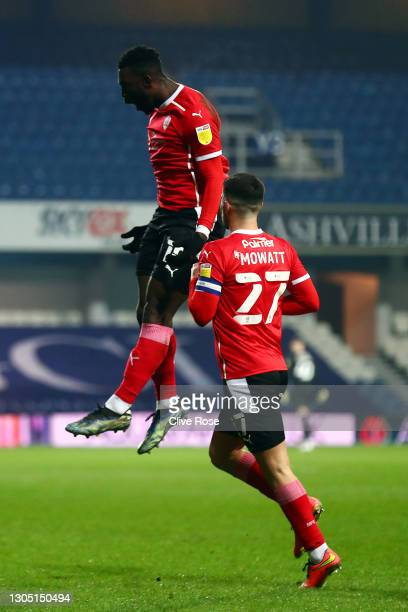 Daryl Dike of Barnsley celebrates after scoring their side's first goal during the Sky Bet Championship match between Queens Park Rangers and...