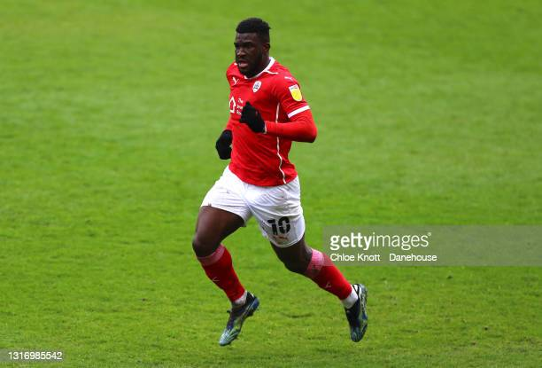 Daryl Dike of Barnsley during the Sky Bet Championship match between Barnsley and Norwich City at Oakwell Stadium on May 08, 2021 in Barnsley,...