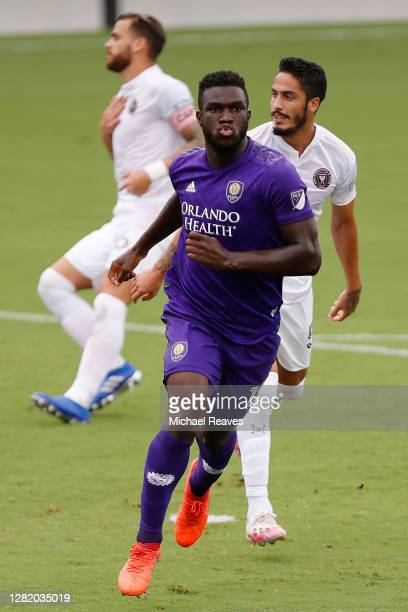 Daryl Dike of Orlando City SC celebrates after scoring a goal in the 12' against Inter Miami CF during the first half at Inter Miami CF Stadium on...