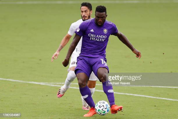 Daryl Dike of Orlando City SC scores a goal in the 12' against Inter Miami CF during the first half at Inter Miami CF Stadium on October 24, 2020 in...
