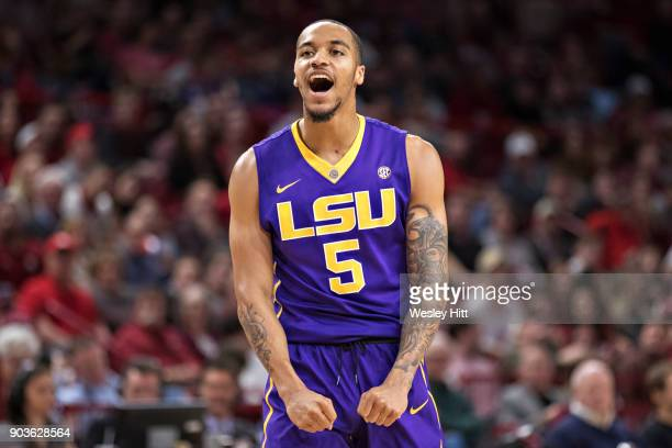Daryl Edwards of the LSU Tigers reacts after a big play during a game against the Arkansas Razorbacks at Bud Walton Arena on January 10, 2018 in...