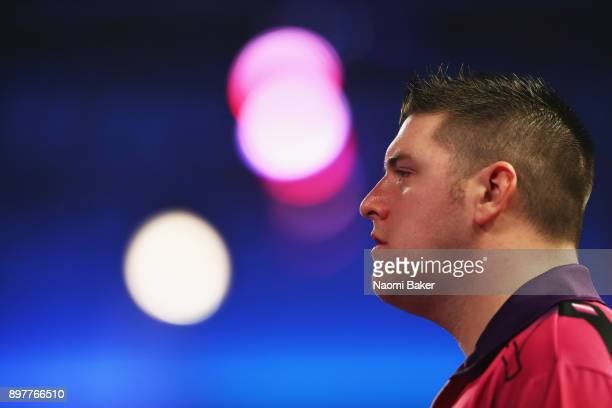 Daryl Gurney of Northern Ireland looks on during the second round match against John Henderson of Scotland on day ten of the 2018 William Hill PDC...