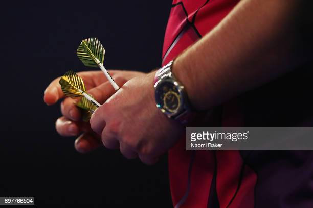 Daryl Gurney of Northern Ireland prepares to throw during the second round match against John Henderson of Scotland on day ten of the 2018 William...