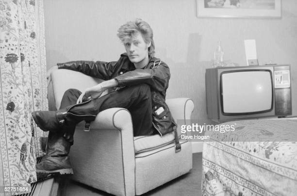 Daryl Hall of American pop duo Hall Oates in his hotel room March 1984
