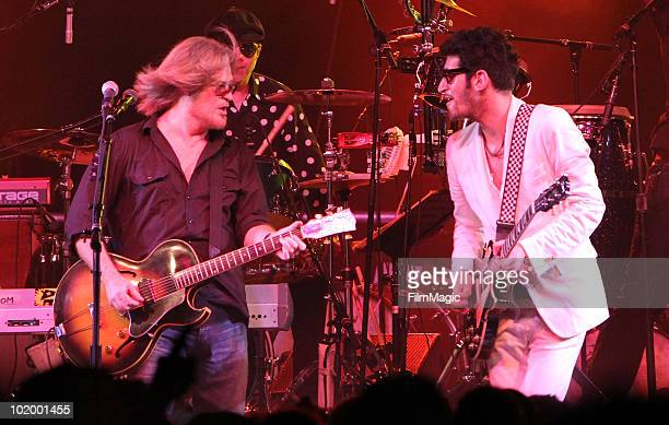 Daryl Hall performs with Dave 1 of Chromeo onstage during Bonnaroo 2010 at The Other Tent on June 11 2010 in Manchester Tennessee
