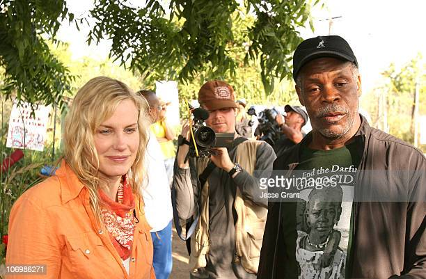 Daryl Hannah and Danny Glover during Daryl Hannah Protests the Closing of South Central Los Angeles Farm June 1 2006 in Los Angeles California United...