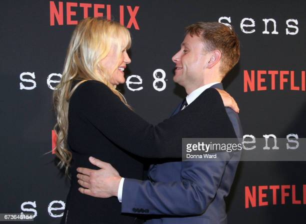 Daryl Hannah and Max Riemelt attend the Sense8 New York Premiere at AMC Lincoln Square Theater on April 26 2017 in New York City