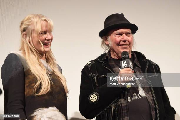Daryl Hannah and Neil Young attend the Paradox Premiere 2018 SXSW Conference and Festivals at Paramount Theatre on March 15 2018 in Austin Texas