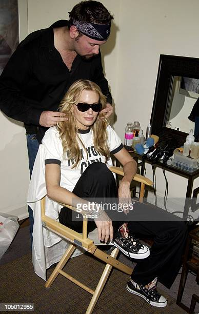 Daryl Hannah getting her hair done at MOP during The Cabana Beauty Buffet Day 2 at The Chateau Marmont in Los Angeles California United States