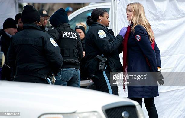Daryl Hannah is handcuffed and arrested during the Keystone XL Pipeline Protest at Lafayette Park on February 13 2013 in Washington DC