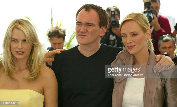 Daryl Hannah Quentin Tarantino and Uma Thurman during 2004 Cannes Film Festival Kill Bill Vol 2 Photocall at Palais Du Festival in Cannes France