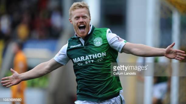 Daryl Horgan of Hibernian celebrates after scoring the opening goal during the Scottish Ladbrokes Premiership match between Livingston and Hibernian...