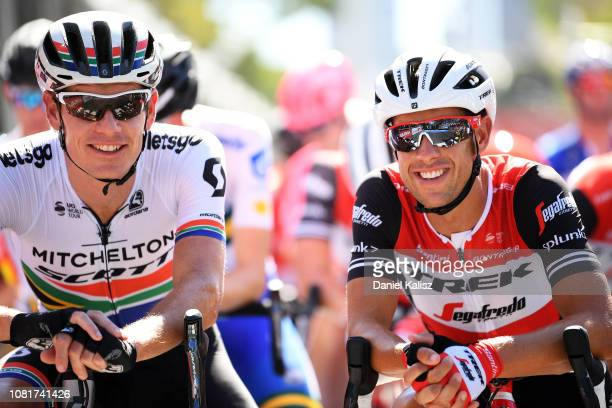 Daryl Impey of South Africa and Mitchelton-Scott and Richie Porte of Australia Trek-Segafredo talk prior to the 2019 Tour Down Under Classic on...