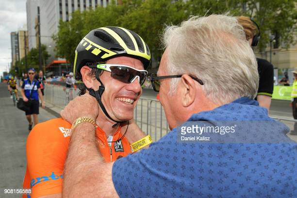 Daryl Impey of South Africa and MitcheltonScott celebrates after winning the ochre jersey and the 2018 Tour Down Under during stage six of the 2018...