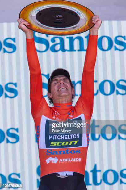 ADELAIDE AUSTRALIA JANUARY 20 Daryl Impey of South Africa and MitcheltonSCOTT celebrates winning the Santos Ochre Leader's Jersey after Stage 6 from...