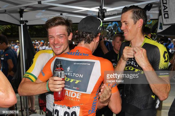 Daryl Impey of South Africa and MitcheltonScott celebrates with Alexander Edmondson of Australia and MitcheltonScott after stage six of the 2018 Tour...