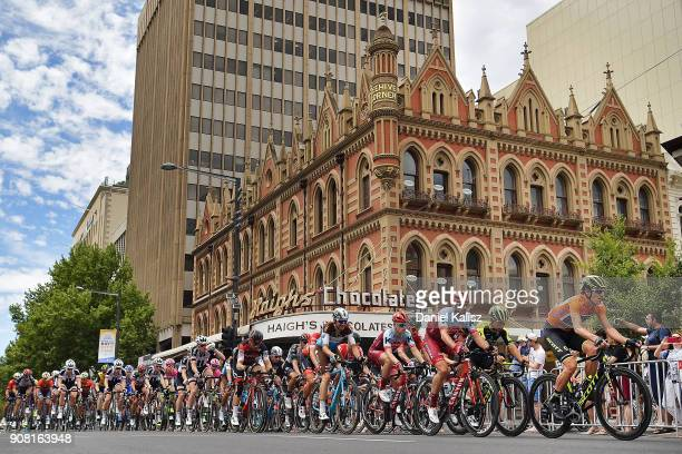 Daryl Impey of South Africa and MitcheltonScott competes during stage six of the 2018 Tour Down Under on January 21 2018 in Adelaide Australia