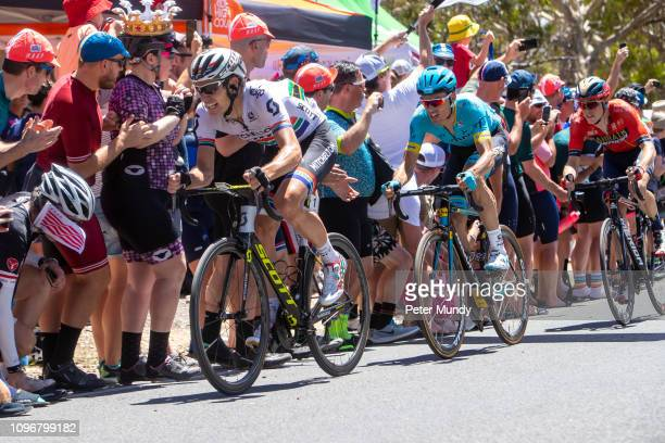 ADELAIDE AUSTRALIA JANUARY 20 Daryl Impey of South Africa and MitcheltonSCOTT on the final lap of the Old Willunga Hill climb final lap during Stage...