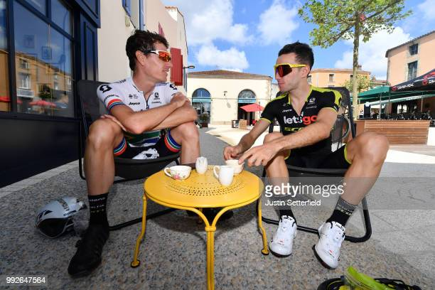 Daryl Impey of South Africa and Team MitcheltonScott / Adam Yates of Great Britain and Team MitcheltonScott / Team stopped for a coffee / during the...