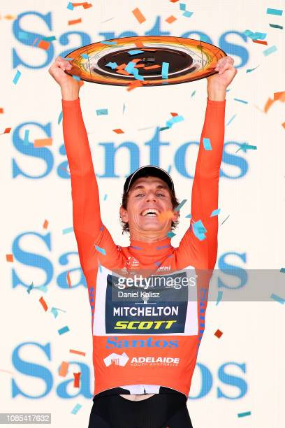 Daryl Impey of South Africa and Team Mitchelton-Scott celebrates on the podium after winning the 21st Santos Tour Down Under 2019, Stage 6 a 151,5km...
