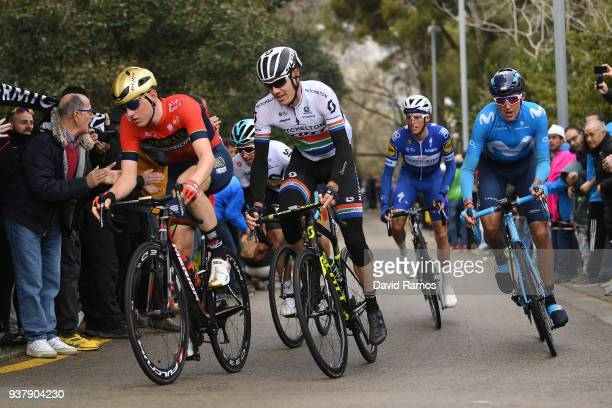 Daryl Impey of South Africa and Team Mitchelton-Scott / Marc Soler of Spain and Team Movistar / Enric Mas of Spain and Team Quick-Step Floors /...
