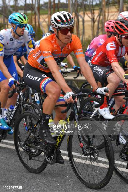 Daryl Impey of South Africa and Team Mitchelton-SCOTT Orange Leader Jersey / Peloton / during the 22nd Santos Tour Down Under 2020, Stage 6 a 151,5km...