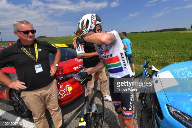 Daryl Impey of South Africa and Team MitcheltonScott / Peloton stopped due to manifestation and launched tear gas / Landscape / Peloton / during the...