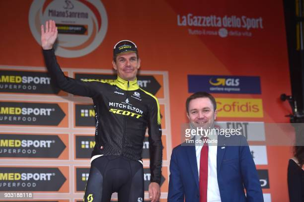Daryl Impey of South Africa and Team MitcheltonScott UCI World Tour LeaderDavid Lappartient of France UCI Presiden Celebration / during the 109th...